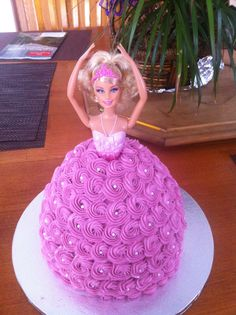 Barbie Birthday Cake - This is one of the first cakes I did for my business: The Sugar Lab. The barbie was provided by my customer and I decorated her skirt (bodice was already on the barbie).