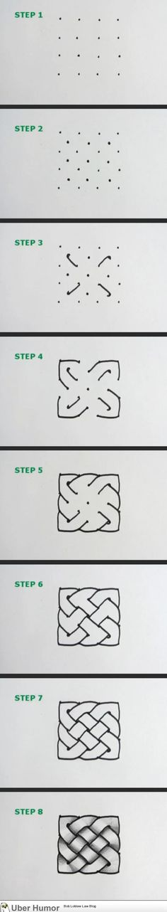 How to draw a simple celtic knot - http://www.funnyclone.com/how-to-draw-a-simple-celtic-knot/