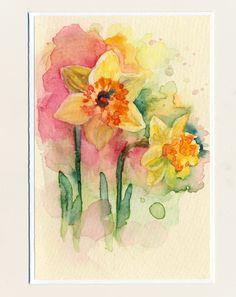 Ručne maľovaná pohľadnica - Narcisky watercolor, daffodil, flowers