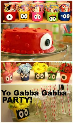 Yo Gabba Gabba birthday party!  Lots of great ideas.--- the treat bucket and cake decorating idea!