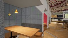 core of the brief was to establish a social space in the reception lobby which functions both as a physical manifestation of the FCB brand. Future Trends, Hospitality, Workplace, Physics, Core, Reception, Australia, Dubai Uae, Brand Design