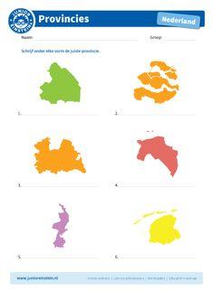 Zoek de goede provincie bij de vorm [2] - Junior Einstein - Oefen met dit werkblad het herkennen van de twaalf provincies van Nederland. Je oefent dit door de juiste provincie bij de vorm te zetten. Je leert op deze manier de topografie van Nederland nog beter beheersen, omdat je ook de vormen van de provincies kent. Download ook het eerste blad om alle provincies te kunnen oefenen. Let op: om de kaart goed te kunnen bekijken, raden wij aan deze in kleur te printen. Netherlands Map, Geography For Kids, Albert Einstein, Holland, Homeschool, Classroom, Creative, Projects, Geography
