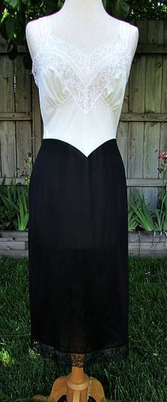 vintage 50s vanity fair black white slip dress.