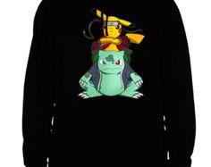 pokemon hoodie pokemon go sweatshirt pikachu bulbasaur blastoise pokemons men's women's black cotton viscose christmas