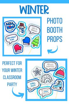 You and your students will have a blast with these winter-themed props for a fun photo booth! Great for your holiday classroom party. These winter photo booth props are also great for school-wide events as well. Use these in your elementary classroom, homeschool classroom, or for a fun winter themed sleepover. Just print and assemble. These easy winter props will be a hit with your elementary students at your next winter classroom party.
