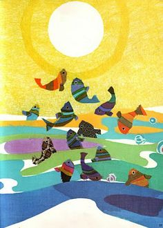 Sakura Fujita, The fishes were able to sleep in peace and safety,illustration from The moon and the fishes, 1972