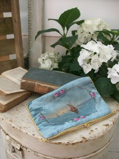 SOLD Antique French hand-painted silk hanky case from Lavender House Vintage #vintage#french#antique#textiles#home#interiors