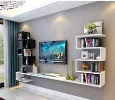 20 Outstanding Ideas For TV Shelves To Design More Attractive Living Room- 20 . - 20 Outstanding Ideas For TV Shelves To Design More Attractive Living Room- 20 Outstanding Ideas F - Living Room Tv Wall, Living Room Tv, Living Room Tv Unit Designs, Modern Tv Wall Units, Living Design, Living Room Design Modern, Living Room Decor Apartment, Tv Room Design, Room Design