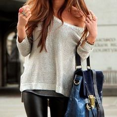 leather pants underneath drapey top
