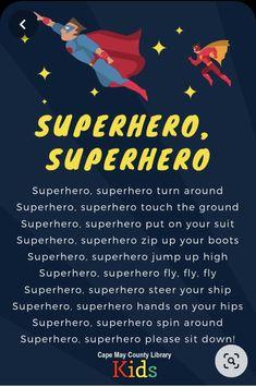 Superhero Preschool, Superhero Classroom Theme, Preschool Songs, Preschool Lesson Plans, Songs For Toddlers, Rhymes For Kids, Kids Songs, Super Hero Activities, Hero Songs