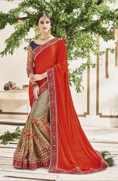 Red & Brown Crepe Chiffon Designer Sarees ,Indian Dresses - 1