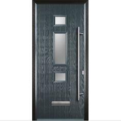 Black Composite Front Door, Dark Grey Front Door, Composite Door, Porch Designs Uk, Pvc Panels, Sandblasted Glass, Timber Door, House Doors, Types Of Doors