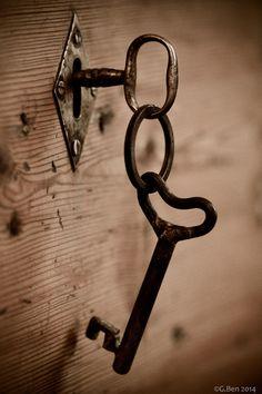 Keys & Locks: Pair of by G. Knobs And Knockers, Door Knobs, Door Handles, Under Lock And Key, Key Lock, Antique Keys, Vintage Keys, Old Keys, Key To My Heart