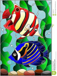Illustration about Illustration in stained glass style with a pair bright fishes on the background of water and algae. Illustration of bright, bubble, illustration - 119467115 Glass Painting Patterns, Stained Glass Patterns Free, Glass Painting Designs, Stained Glass Quilt, Faux Stained Glass, Stained Glass Designs, Stained Glass Panels, Fish Art, Mosaic Art