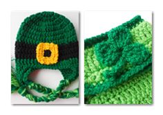 Leprechaun Hat and Diaper Cover Baby Set  St by ShelleysCrochetOle