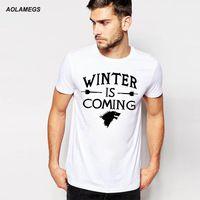 Aolamegs Hombres camiseta de Juego de Tronos Casa Stark Invierno Es llegando Cartas camiseta Impresa Verano S-3XL Parejas Algodón de tes Superior