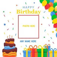 Happy Birthday Wishes Boy, Happy Birthday Love Cake, Birthday Wishes With Photo, Birthday Card With Name, Happy Birthday Cake Pictures, Birthday Photo Frame, Happy Birthday Frame, Birthday Wishes And Images, Happy Birthday Greeting Card