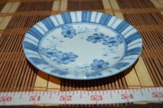 "Asian Porcelain Blue and White Floral & Stripes Small Plate 4 5/8"" Marked"