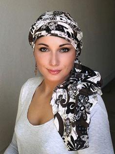 Brown White Floral Turban Head Wrap  for #chemo #alopecia #accessories