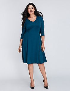 This fit & flare dress is all about the seaming. (You'll know what we're talking about the second you have it on.) Ponte fabric offers stretch and resists wrinkles and pilling. V-neck. 3/4 sleeves. Exposed back zipper. lanebryant.com