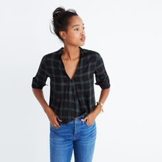 Wrap-Front Shirt in Palma Plaid