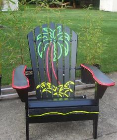 Neon paint Beach scenes | Midwest Bamboo Ltd. Hand Painted Adarondacks
