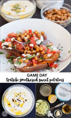 Healthy Tailgate Tzaziki Smothered Sweet Potatoes | Eat Chic Chicago