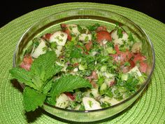 Syrian Potato Salad - mayo free and bursting with flavor from lemon, mint and scallions.