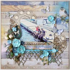 Scraps Of Elegance scrapbook kits: beach / summer vacation layout w/our June2017 kit, by Tracy Funk. BoBunny Serendipity