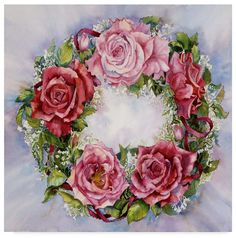 August Grove 'Rose Wreath' Print Format: Flat Back Metal Framed Corona Floral, Foto Transfer, Flower Cards, Mother Day Gifts, Vintage Flowers, Vintage Images, Pink Roses, Framed Art, Beautiful Flowers
