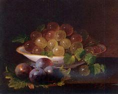 George Forster (1817–1896) / природа, осень, цветы, натюрморт, грибы, лето, живопись, фрукты, ягоды, художники, букет, дары природы