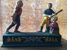 antique toy banks   Vintage Cast Iron Baseball Bank Mechanical Toy Bank   eBay Antique Iron, Antique Toys, Vintage Toys, Vintage Antiques, Penny Bank, Tin Toys, Classic Toys, Model Trains, Banks