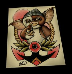 Sailor Gizmo Tattoo Flash 11x14 by ParlorTattooPrints on Etsy https://www.etsy.com/listing/199991362/sailor-gizmo-tattoo-flash-11x14