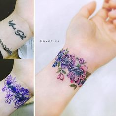 tattoo cover up - Tattoo Ankle Tattoo Cover Up, Flower Cover Up Tattoos, Wrist Band Tattoo, Tattoos For Women Flowers, Flower Wrist Tattoos, Wrist Tattoos For Women, Cover Tattoo, Wrist Coverup Tattoos, Ankle Cuff Tattoo