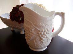 Vintage Imperial Glass Milk Glass Footed Pitcher Harvest Grape Pattern Vine…