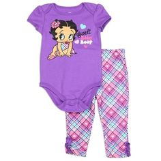 Licensed Betty Boop baby apparel sweet Baby Boop creeper and cute plaid leggings. Free shipping on every order at Kids Fashion discount clothing store Free Shipping #BettyBoop #BabyClothes #Baby