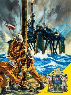 North Sea Oil Rig (Original) art by Harry Green #drilling #art www.thedrillingpeople.com
