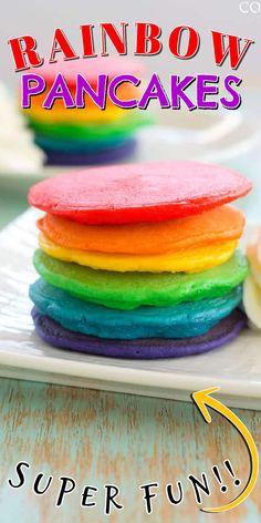 How fun! Rainbow Pancakes for spring, St. Patrick's Day or a unicorn birthday breakfast! #rainbowfood #pancakerecipes #amandascookin Rainbow Pancakes, Birthday Breakfast, Rainbow Food, Brunch Dishes, Best Breakfast Recipes, Cooking With Kids, Unicorn Birthday, Egg Recipes, Amazing Recipes