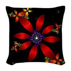 Fractal #Flowe#r Wove#n Throw Pillow #> Fractal Flower > Flowersforyou