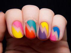 Bold Bolts - Deborah Lippmann 80s Rewind Nail Art via @Chalkboard Nails #deborahlippmann #nailvinyls