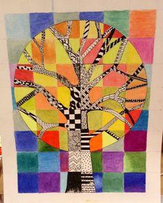 Zantangle Tree ink and color pencil. 4/9/13