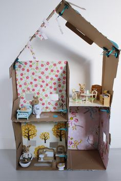 repurposed box doll house