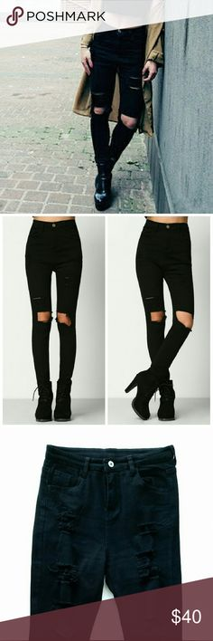 "High Waisted Distressed/Ripped Skinny Black Jeans High Waisted Distressed / Ripped Skinny Black Jeans  *High waisted (comes up right about or above belly button) *Ripped right above your knees. Don't have to worry about holes getting bigger because of your knee movements rips them further.  *Fabric has some stretch *Size Large - fits US 6-8 / Waist : 14"" flat / Inseam : 26""  *Size XL - fits US 8-10 / Waist : 15"" flat / Inseam : 26"" *I'm normally size 26-27 in jeans and fits medium  *New…"