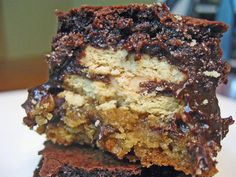 Triple Layered Brownies from A Turtle's Life for Me