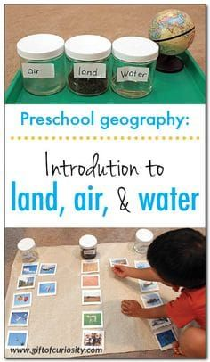 Introduction To Land, Air, And Water: A Fun, Montessori-Inspired Preschool Geography Lesson That Helps Kids Understand What Our Earth Is Made Of Gift Of Curiosity Montessori Preschool, Preschool At Home, Preschool Curriculum, Preschool Lessons, Preschool Classroom, Preschool Learning, Homeschooling, Preschool Science Activities, Montessori Elementary