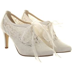 Hassall for Rainbow Heartbeat Lace Up Court Heels, Ivory (665 RON) ❤ liked on Polyvore featuring shoes, pumps, heels, boots, white, white stiletto pumps, high heels stilettos, white flat shoes, heels & pumps and heels stilettos
