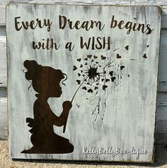 "12"" x 12"" wooden sign This delightful sign features a precious little girl with curls blowing the seeds of a dandelion to make a wish. Perfect for a nursery, li"