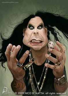 Caricatura-de-Ozzy-Osbourne by Nico Di Mattia Funny Caricatures, Celebrity Caricatures, Celebrity Drawings, Ozzy Tattoo, Heavy Metal, Create A Comic, Caricature Drawing, Ozzy Osbourne, Wow Art