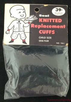 Vtg Pair Replacement Cuffs for Childs Coat Pants Black New Old Stock FR SHP #Seal