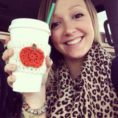 Crochet Pumpkin Coffee Cozy White & Orange by faithsyarnworks, $5.50